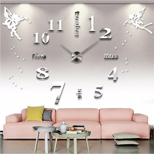 Large Wall Clocks Silent Acrylic Self adhesive DIY 3D Digital Wall Clock Sticker Angel English Letters Big Clock Home Decor