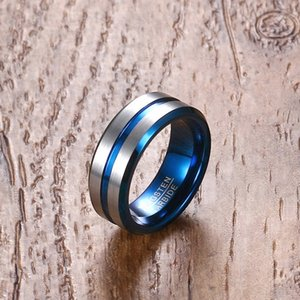 Mprainbow hombres anillo negro tungsteno carburo boda bandas para masculino línea azul groove joyería interior anillas bague homme anel y1128