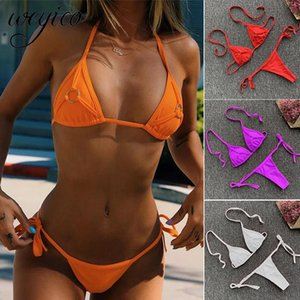 Sexy Women Bikini Set Swimsuit Solid Ring Decoration G String Bathing Suit Micro Bikinis Push Up Beachwear Bodysuit Swimwear