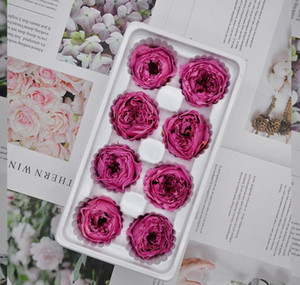 8 pçs / caixa preservada Austin Rose Caixa de flor imortal flor flor diy material por atacado flor decorações eternas 4-5cm