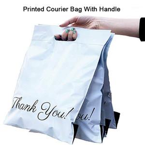 50 pcs impresso bolsa de lona expresso saco com handle courier auto-selo adesivo eco impermeável transporte de transporte