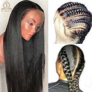 180 densité prémoussile en dentelle pleine dentelle perruque humaine perruque de dentelle sans glualité cheveux humains cheveux 360 dentelle perruques droites pour femmes noires avant