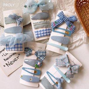 Proly 4 / Adet / Set Çocuklar Moda Kafes Tokalar Set Kızlar Renkli Yay Knot Tokalar Pretty Güzel Çocuk Saç Klipleri Headwear1