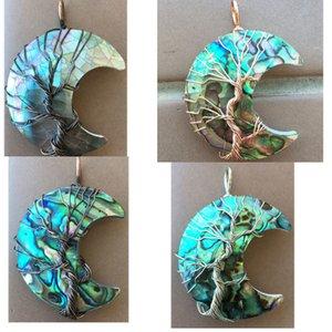 Бесплатная Доставка Мода Ювелирные Изделия Новая Зеландия Abalone Shell Moon Art Женщины Мужчины Подвесной Бусин WB866 Q1209