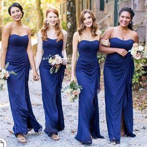 Sexy Country Sheath Bridesmaid Dresses Long High Split Draped Sweetheart Pleats Chiffon Wedding Guest Dress Maid of Honor Gowns Vestidos