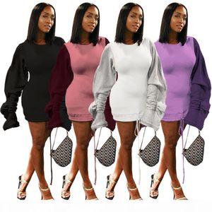 Women mini Dresses Long Sleeve Crew neck ruffle drawstring Long sleeve patchwork Trendy Pencil Dress Fall Summer Sexy Shirt LJJA3050