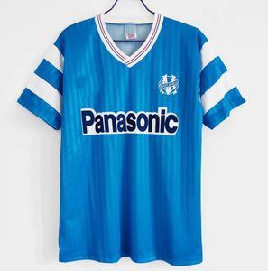 1990 1991 1992 1993 Retro Olympique de Marselha 90 91 92 93 99 00 Camisas de futebol Papin Boli Cantona Waddle Pelé Vintage Kit Camiseta