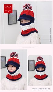 Headgear Women's Wool Hat One-piece Bantle Collage Winter Girl Winter Warmer Riding Knit Hat Head Warmer GWE3248
