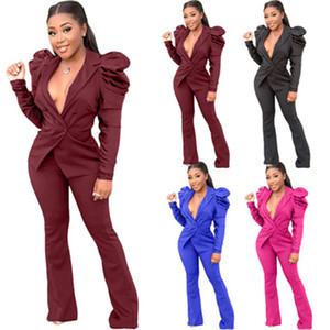 Ladies Blazers 2Pcs Sets Fashion Trend Puff Sleeve Lapel Cardigan Button Tops Pants Suits Designer Female Winter New Casual Slim Coats Suit