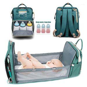 Windel-Taschen Falten Tragbare Baby-Krippe Klappgebett Mommy Bag 2-in-1 Multifunktionale Rucksack Mama Wasserdicht1