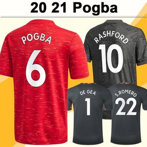 2020 2021 POGBA Rashford Futbol Formaları Mata Ev Kırmızı Uzakta Siyah 3rd Kaleci Erkek Futbol Gömlek Yeni Dövüş Lingard Matic Kısa Kollu
