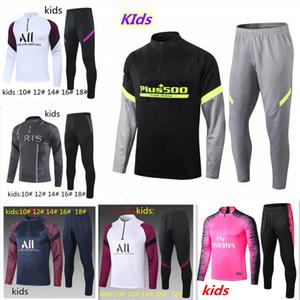2020 2021 Paris Çocuk Eşofman Ceket MBappe Futbol Eğitim Suit 20 21 Çocuk Eğitim Takım Elbise Chandal Futbol Futbol Suit