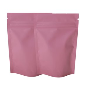 "8.5x13 سنتيمتر (3.25x5 "") ماتي الوردي اللون ziplock التعبئة والتغليف كيس mylar الألومنيوم احباط الوقوف الحقيبة لحزب تخزين طاقة الغذاء 201021"