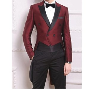 New Tailcoat Burgundy Suits for Mens Weddings Vogue Groom Tuxedos Double Breasted Best Man Party Prom Wears(Jacket Pants Bow)