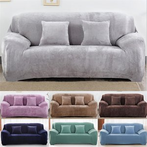 Meijuner Sofa Cover Solid Color Plush Thicken Elastic Couch Cover Universal Sectional Slipcover For Hotel Home Living RoomY412 201221