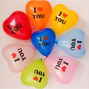 100 adet / paket Kalp Şekli Balon 12 inç Sevgiliye Günü Dekoratif Balon Düğün Için Sizi Seviyorum Harfler Balonlar Malzemeleri E122310