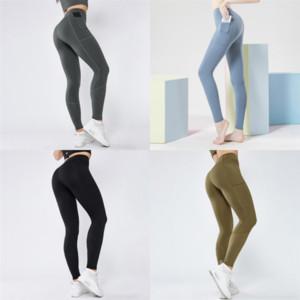 PFWS Spandex Plus Size Petite Yoga Pant per donna Yoga Pantaloni Jogger Pantaloni Push Up Sport con Vita Fitness Donne Pocket Femme Alti collant