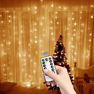 3x2M LED USB Power Remote Control Curtain Fairy Lights Christmas Garland Lights LED String Lights Party Garden Home Wedding Decor