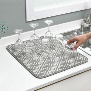 Tappetino da asciugamani per cucinare lavello Dreiner Dreiner Bere Coaster Coaster Microfiber Cushion Pad per stoviglie Teatowel Absorbent Hotel Bar Placemat C1212