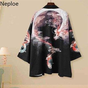 Neploe Giapponese Kimono Cardigan Vintage Stampa Camicie Uomo Donne Donne Harajuku Chimono Cappotti Blusas Mujer Allentato Casual Tops 39055 Y200402