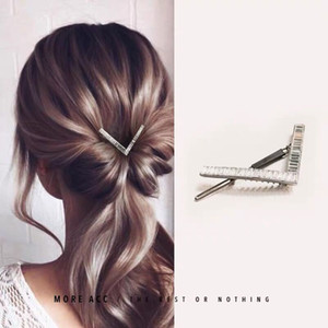 Joyas de pelo de cristal de lujo Mujeres cúbico zircon metal horquillas de boda clips de pelo accesorios de pelo geométrico regalo de navidad 365 g2