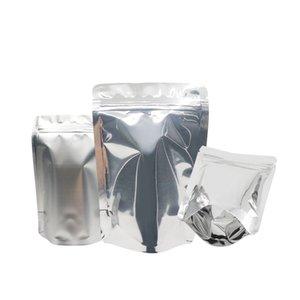 Borse gratuite Argento Sigillo di alluminio PC Snack Snack Ziplock 100 Top Apri Spedizione Apri Foglio Coffee Up Pacchetto Mylar Zip Stand Lock Heat TFTNU