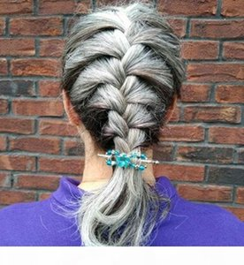 Ponçons péruviennes Sleek Grey Cheveux 100g Ensemble d'une pièce Extensions de cheveux Ponytail Natrual Gris Curly Vente en gros Vierge cheveux 100% cheveux humains