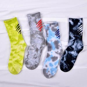 street web celebrity scratch tie-dye socks silk stockings lovers skateboard sock movement wholesale men and women