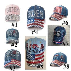 Cystal Rhinestone BiDen Hat Denim Snapbacks бейсбол шарики шапки алмаз президент BiDen Harris США флаг ковбой ковбой спортивные головные уборы E111802