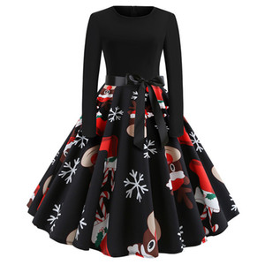 New designer woman dresses Christmas explosion retro round neck print long sleeve large swing dress spot women clothes