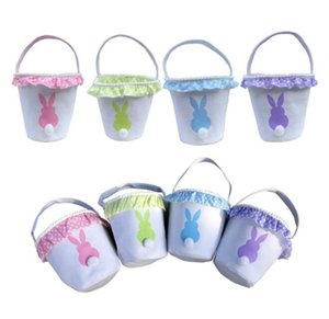 New Easter Baskets rabbit tail bag cute girls kids lace basket easter egg gift candy storage bags vintage canvas bunny handbag