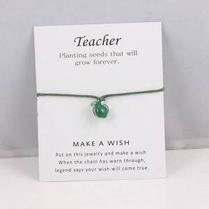 Green Apple Teacher Bracelets Adjustable Friendship Statement Bracelet For Women Men Gift With Card Best Gift For Teacher
