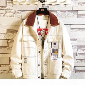 #3447 Black White Hip Hop Coat For Men Harajuku Streetwear Denim Jacket Men M-5XL Denim Jeans Jacket Homme Loose Bomber