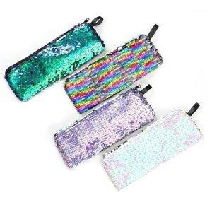 Casi di matita 1 pezzo Colorato Reversibile Sequin Case Cute Fashion Box PencilCase Scuola forniture1