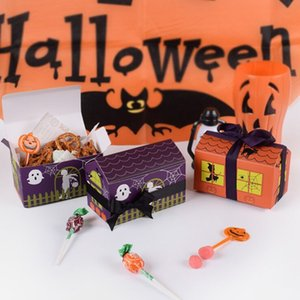 Hot sale new 10pcs orange  deep purple fashion horror house nougat candy box spot creative Halloween baking package