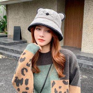 Chapeau de seau peluche d'hiver avec des oreilles de chat mignonnes chapeaux plats animal soft imprimé chaud