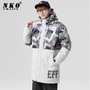 CHAIFENKO Winter Casual Thick Warm Long Down Jacket Men Fashion Couple Jacket Coat Windproof Hooded Brand Men Women Down Jackets Y1120
