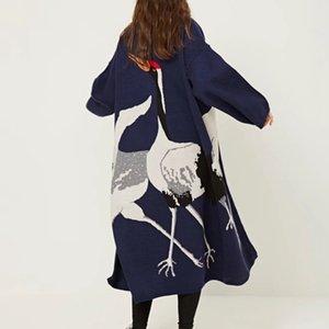 Suéter Cardigan de cigüeña para mujer de jersey de invierno de mujer Mujer kimono vintage de punto largo trinchera