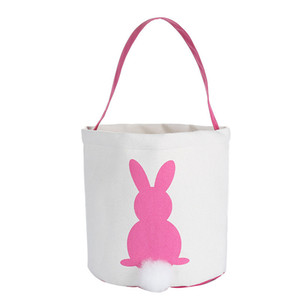 Easter Rabbit Basket Easter Bunny Bags Rabbit Printed Canvas Tote Bag Egg Candies Baskets 4 Colors ZZC3332