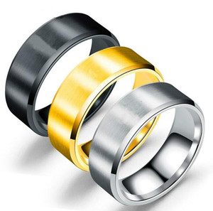 Stainless Steel Blank Ring Gold Black Matt Art Ring Band Rings Women Men rings Fashion Jewelry Will and Sandy fashion ps1671
