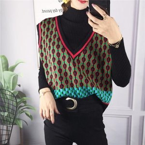 Oneimirry Knited Plaid Vest Women Waistcoat Loose Fashion Geometric Black Sweater Vest Pullover Korean Clothes Autumn 2020 New