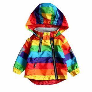 Mangas largas Primavera y otoño niños Baby Girl Boy Chico con capucha Abrigo Sundial Ropa Ropa Arco iris Stripe Chaqueta C1118