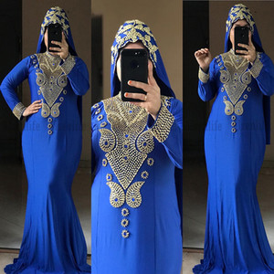Vestidos Formale Royal Blue Tunisian India Evening Party Gowns For Women Long Sleeves Gold Beads Mermaid Prom Gowns