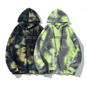 Autumn high street American fashion brand Street decadent style tie dyed Hooded Sweater men's long sleeve trend hip hop looseLEO9T5FUNDLF