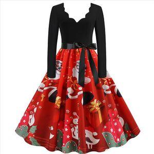 Fashion Christmas dress Women Long Sleeve Christmas Musical Notes Print Vintage Flare Dress Vestidos 45 Drop Shipping