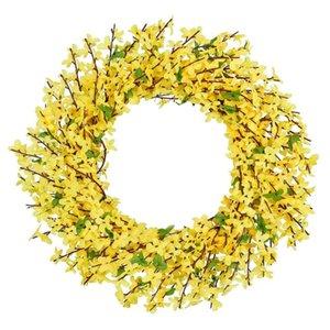 Желтый цветок передняя дверь венок зимний джасминум венок для свадьбы дома декор стены искусственный Forsythia цветок