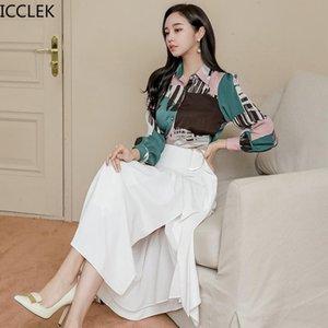 ICCLEK Sonbahar ve Bahar Kadınlar Yeni Iki Parçalı Kore Tarzı Ince Baskılı Gömlek Tops + Bel Bölünmüş Etek Iki Parçalı Set