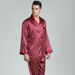 Mens Pajama Silk Pajamas for Men Sleepwear Sexy V-collar Cozy Soft Long Sleeve Nightgown Tops + Trousers Two Piece Set Q1202