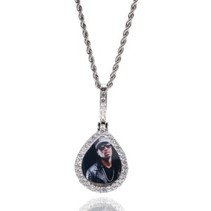 Water Drop Jewelry Hip Hop Men's Photo Frame Design Pendant Necklace Shiny Zircons Gold Silver Plated Jewelry