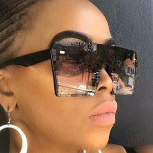 2020 Flat Top Oversized Square Sunglasses Women Fashion Retro Gradient Sun Glasses for womens mens Men Blue Big Frame Vintage Eyewear UV400